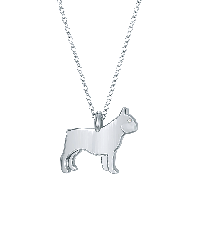 French Bulldog Mini Pups Diamond Necklace silver