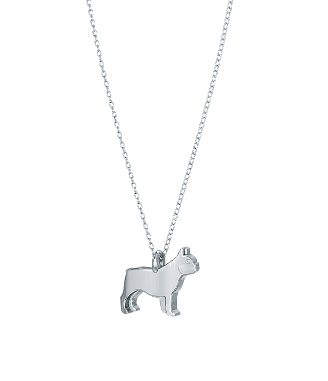 French Bulldog Mini Pups Diamond Necklace wg