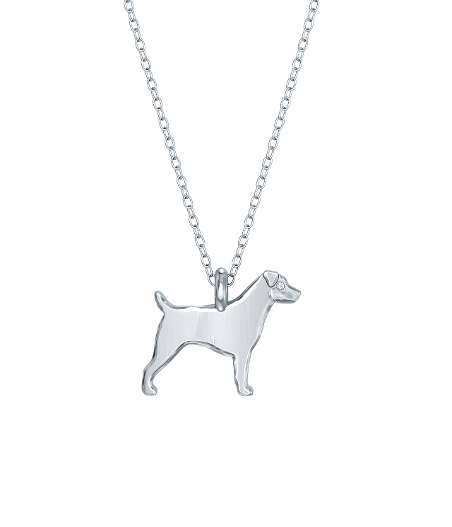 Jack Russell Mini Pups Diamond Necklace Silver