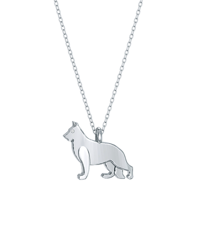 German Shepherd Mini Pups Diamond Necklace silver