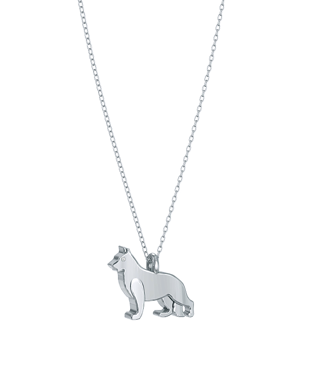 German Shepherd Mini Pups Diamond Necklace wg