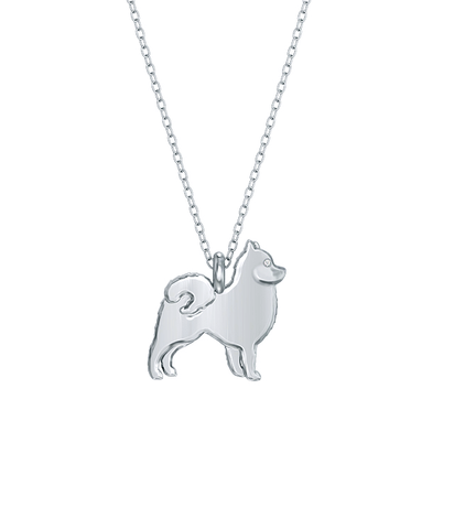 Pomeranian Mini Pups Diamond Necklace Silver