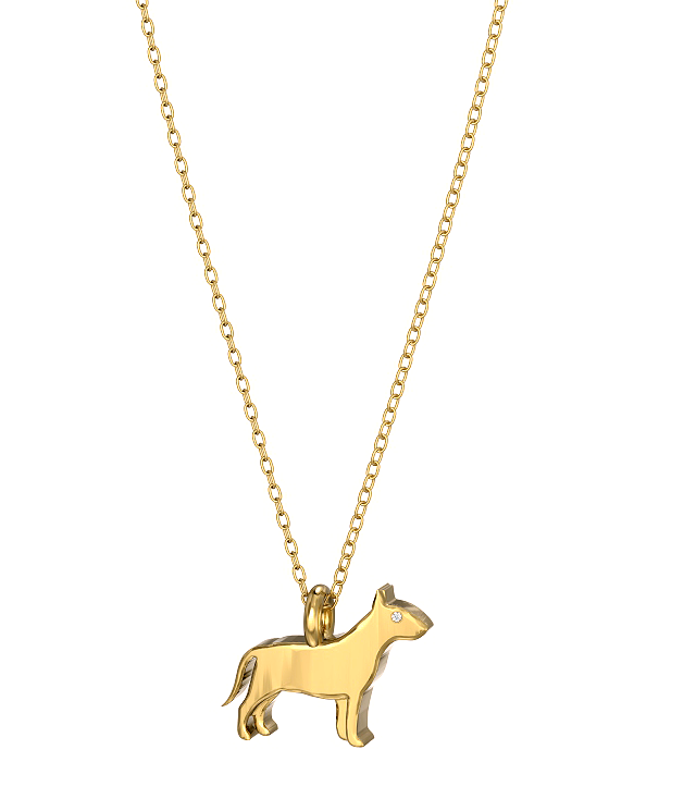 Bull Terrier Mini Pups Diamond Necklace yg