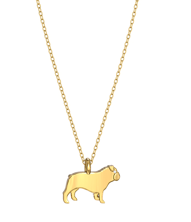 English Bulldog Mini Pups Diamond Necklace YG