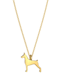 Doberman Pinscher Mini Pups Diamond Necklace Yg