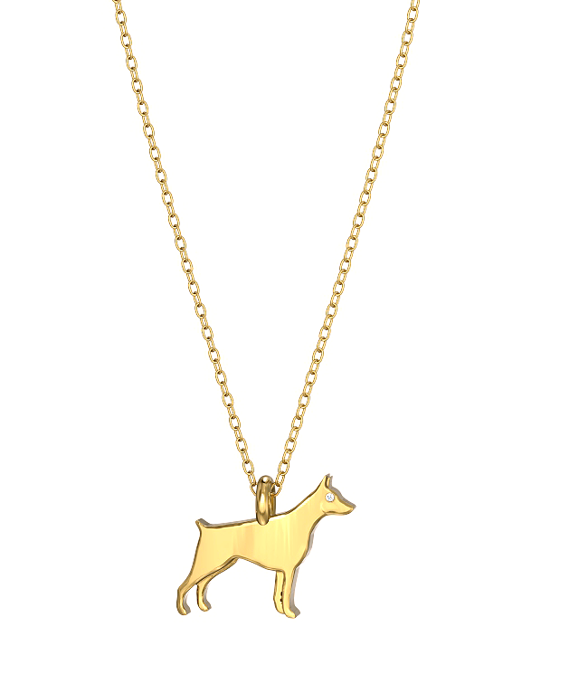 Miniature Doberman Pinscher Mini Pups Diamond Necklace yg