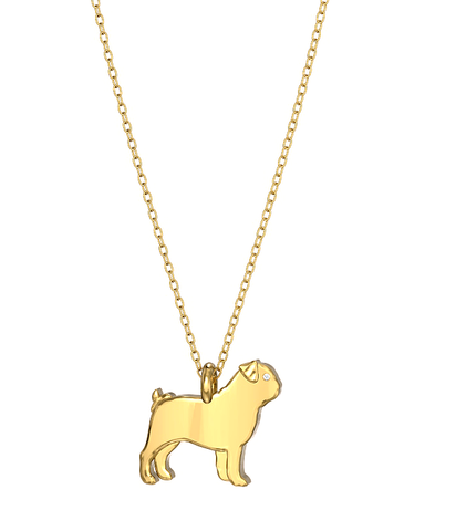 Pug Mini Pups Diamond Necklace yg