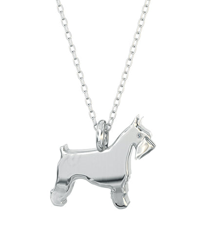 Miniture  Schnauzer Mini Pups  Diamond Necklace Sterling Silver