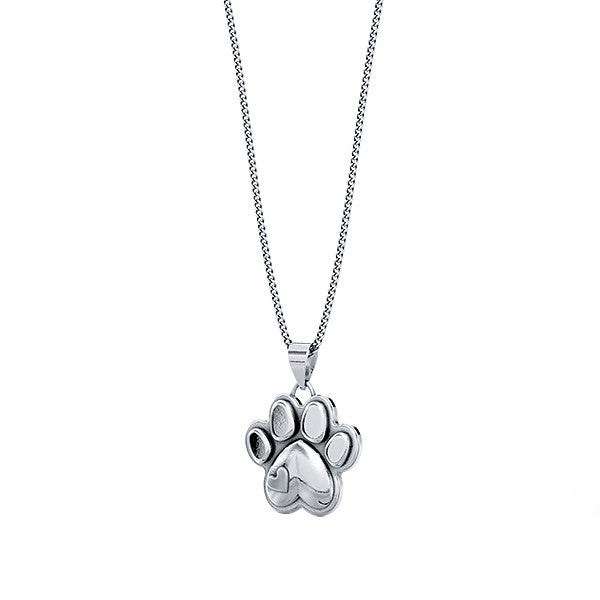 Mini Love Heart Paw Print Necklace - TINY BLING
