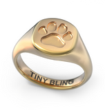 Puppy Paw Print Signet Ring - TINY BLING