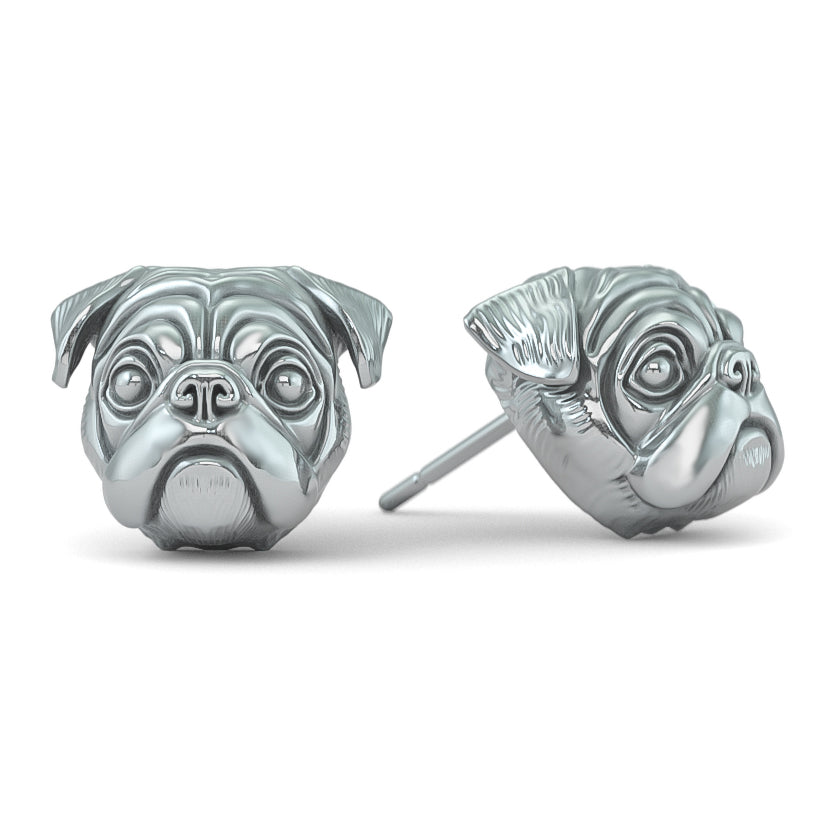 Pug Puppy Face Earring Studs