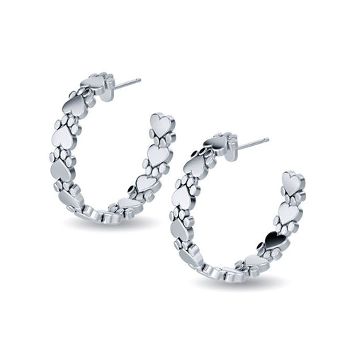Paw Print Hoop Earrings - TINY BLING