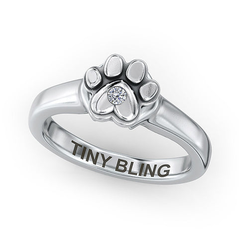 Paw Print Diamond Solitaire Love Ring - TINY BLING