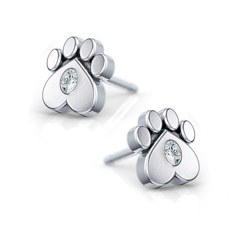 Paw Print Diamond Earrings