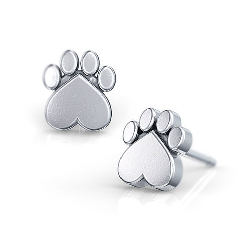 Paw Print Puppy Stud Earrings - TINY BLING