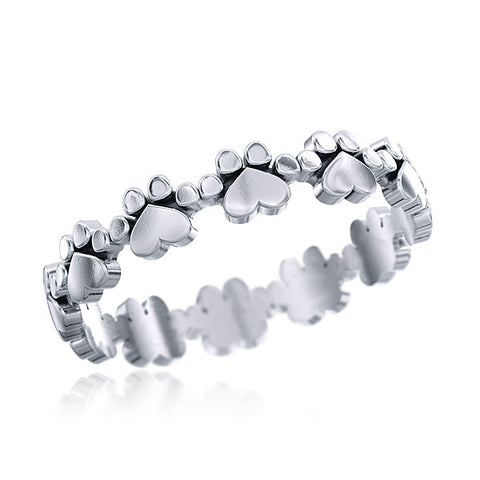Paw Prints and Hearts Kloe Eternity Ring - TINY BLING