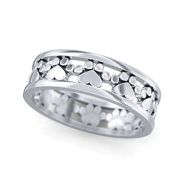 Paw Prints and Hearts Loop Eternity Band - TINY BLING