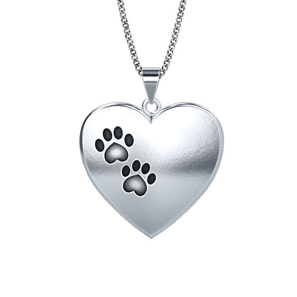 Plush Heart Paw Print Necklace - TINY BLING