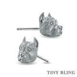 PIT BULL ( cropped ears) Earring Studs - TINY BLING