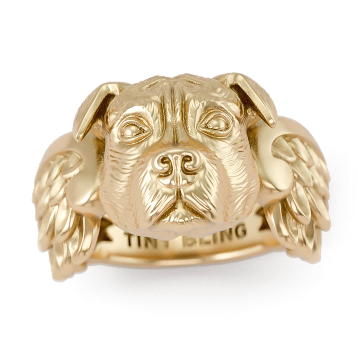 Pit Bull Angel Wings Memorial Ring