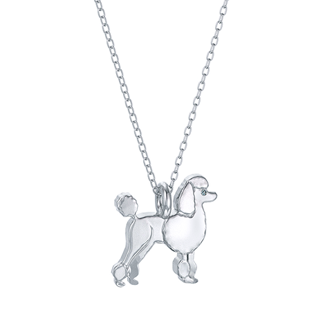Poodle Mini Pups  Diamond Necklace-Sterling Silver