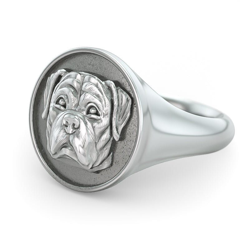 Rottweiler Classic Round Signet Ring