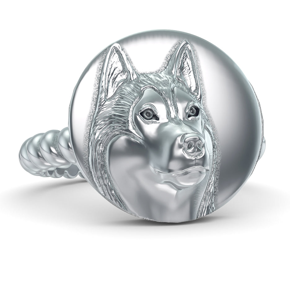 Siberian Husky Disk Twisted Wire Rope Ring