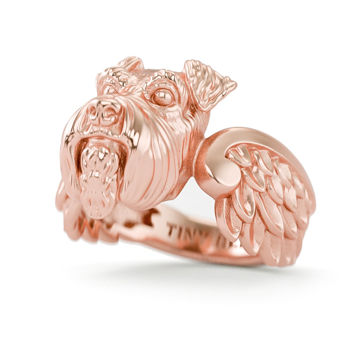 Miniature Schnauzers Angel Wings Memorial Ring