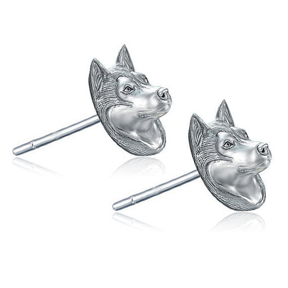 Siberian Husky Breed Face Earring Studs