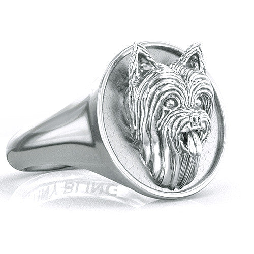 Yorkshire Terrier Classic Round Signet Ring