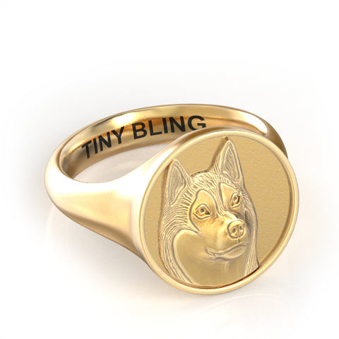 Siberian Husky Embossed Classic Round Signet Ring