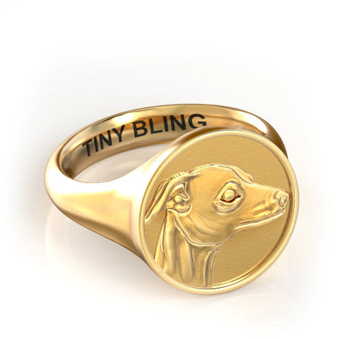 Whippet Classic Round Signet Ring