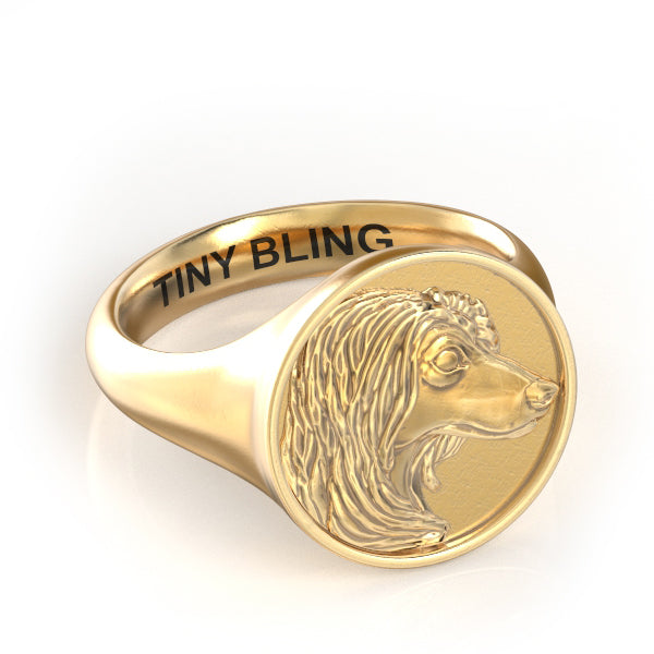 Afghan Hound Classic Round Signet Ring