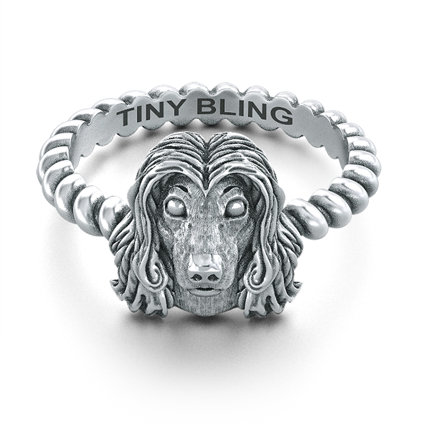 Afghan Hound Breed Jewelry Twisted Wire Rope Ring