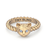 Diamond Cat Breed Twisted Wire Rope Ring