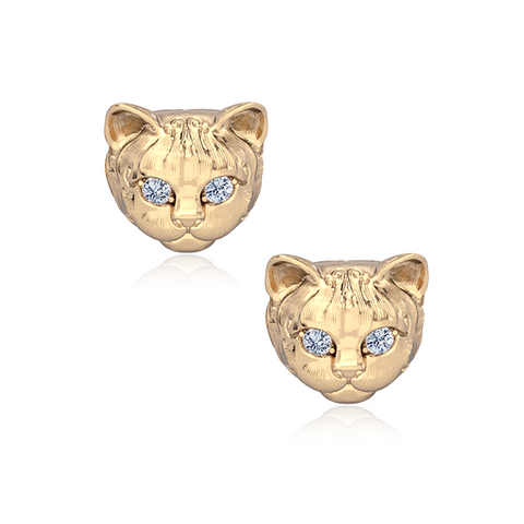Diamond Kitty Cat Breed Face Earring Studs