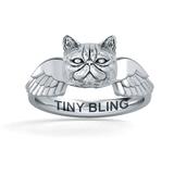 Exotic Short Hair Persian Cat Memorial Angel Wings Ring