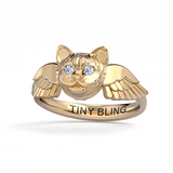 Diamond Kitty Cat Memorial Angel Wings Ring