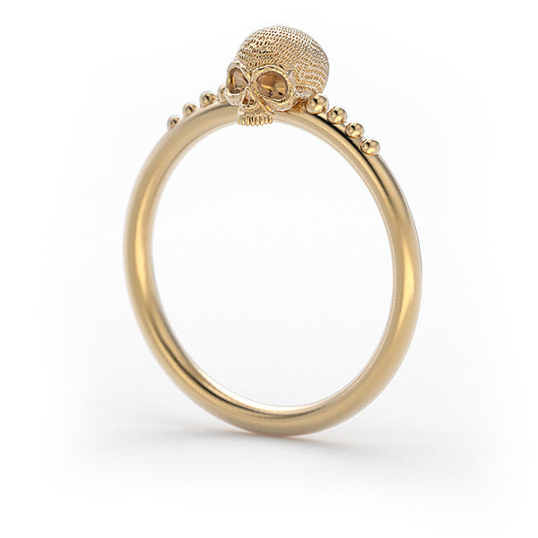 14k gold Tiny Daisy Skull Ring