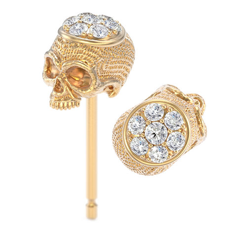 Diamond Top Skull Earring Studs