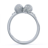Mini Vogue Skull Ring Silver diamonds
