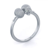 Mini Vogue Skull Ring 14k white gold diamonds