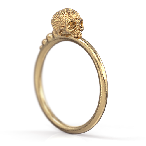 Maddow Stackable Skull Ring 14k Gold Yellow