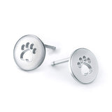 Soft Paw Print Circle Earring Studs - TINY BLING
