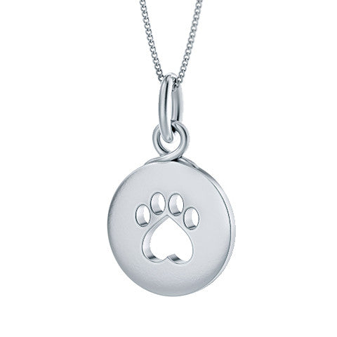 Soft Paw Print Circle Pendant - TINY BLING