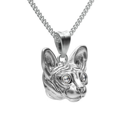 Sphynx Cat Breed Diamond Eyes Pendant - TINY BLING