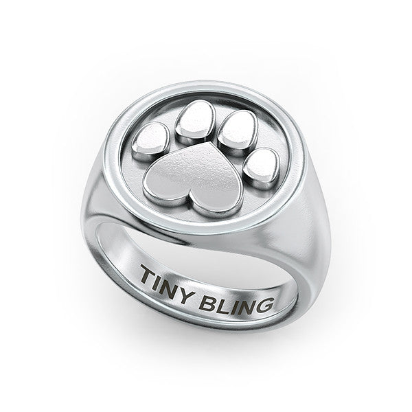 Stud Paw Print Signet Ring - TINY BLING
