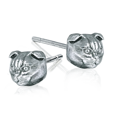 Olivia Swift- Scottish Fold Cat Breed Face Earring Studs