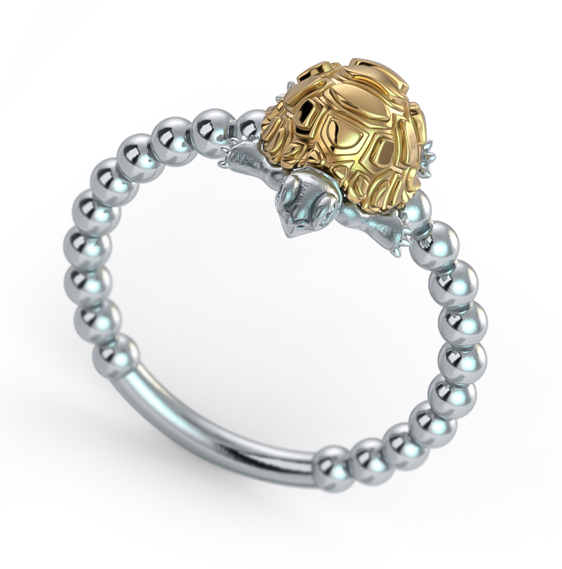 Madagascar Tortoise Diamond Bead Ring