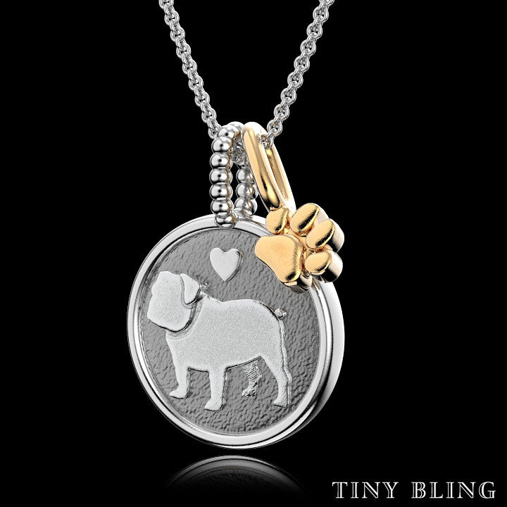 English Bulldog Doggy Disk Charm - TINY BLING